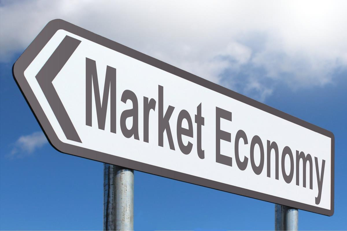 market economy highway sign image