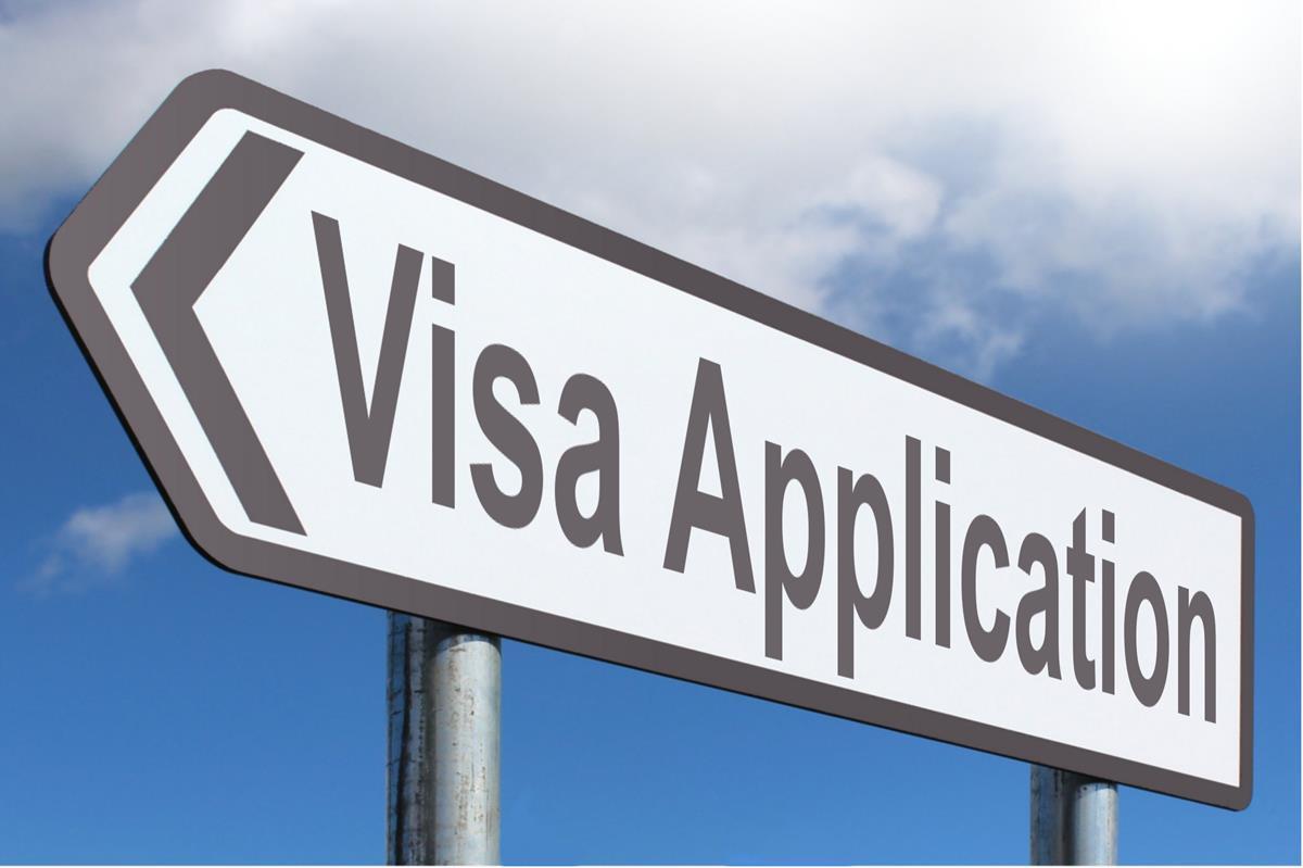 A signboard of visa application